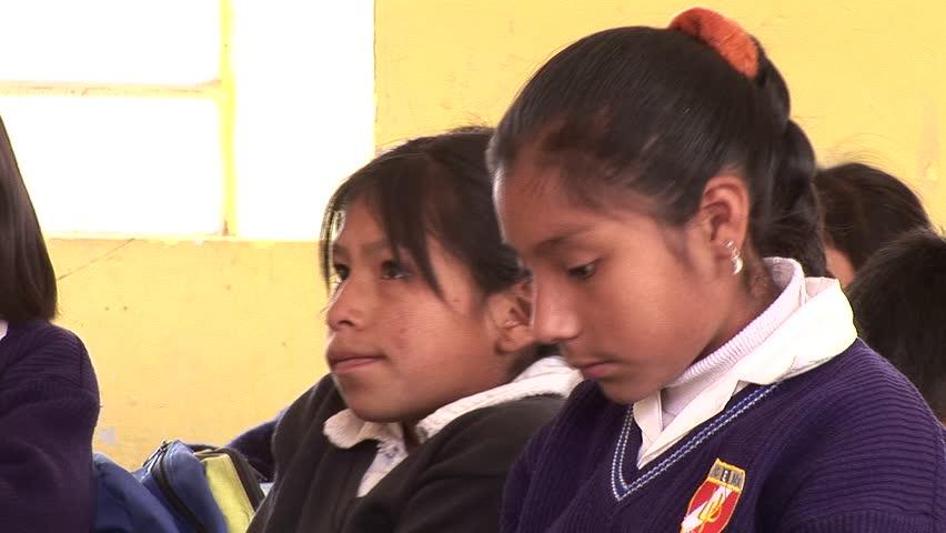 Cusco, Peru, South America. October 2007 Video footage of scholchilds in a classroom in Cusco, Peru, South America. October 2007