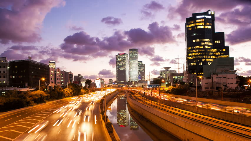 4K - Traffic Time Lapse - Ayalon Freeway From Day To Night  | Shutterstock HD Video #10025711