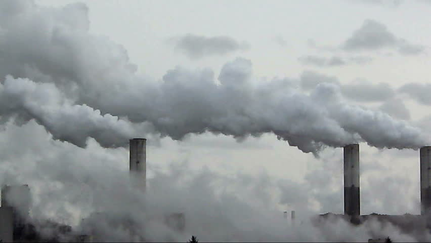 Big chimney with grey smoke | Shutterstock HD Video #100282