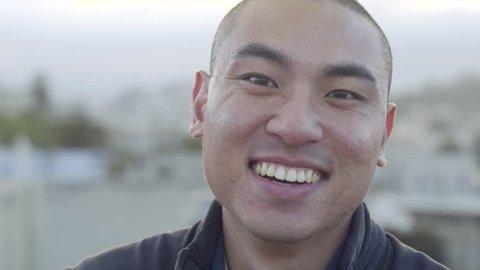 Portrait Of Happy Man On A Rooftop In San Francisco, Shot In 4K