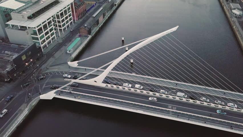 Top Down Aerial of Samuel Beckett Bridge Dublin City Centre | Shutterstock HD Video #1005617962