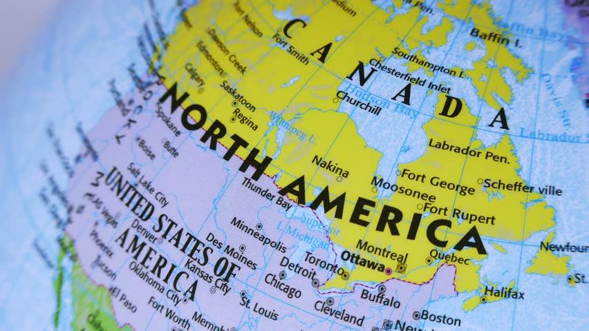 North America Terrestrial Globe 4K Terrestrial Globe Rotates And