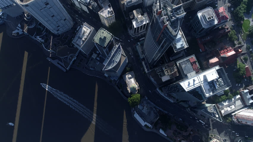 Aerial Shot of Brisbane City Late afternoon 4k source River City 1 of 21 in a set Cloudy & Blue Sky God point of View Eye, Looking down on buildings