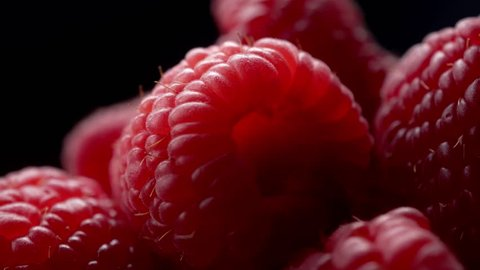 Raspberries super close up 4K stock footage. Raspberries in macro close up with a sliding camera move.