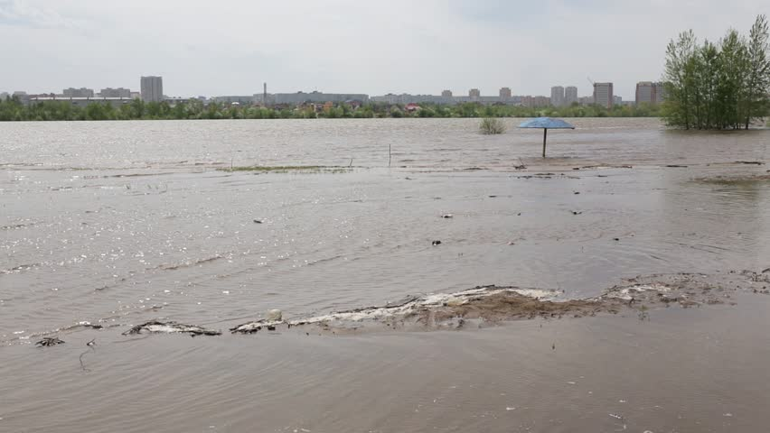 Flood on the Irtysh River crossing the city of Omsk, Russia