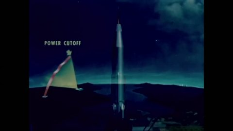 CIRCA - 1954 - An animated catapult illustrates the launch and flight of an Atlas Intercontinental Ballistic Missile.