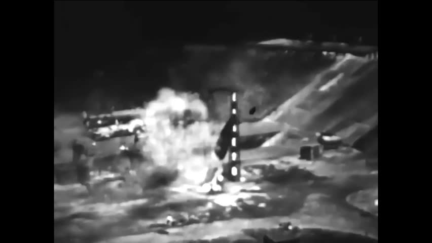 CIRCA - 1944 - After one B-2 rocket fails to launch, the Germans successfully launch one such guided missile (narrated in 1951).