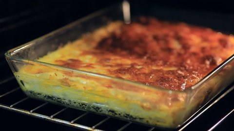 Lasagna is cooked in the oven. homemade food