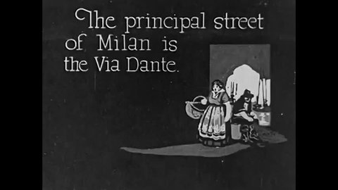 CIRCA 1923 - The Via Dante in Milan and the canals in Venice, in Italy.