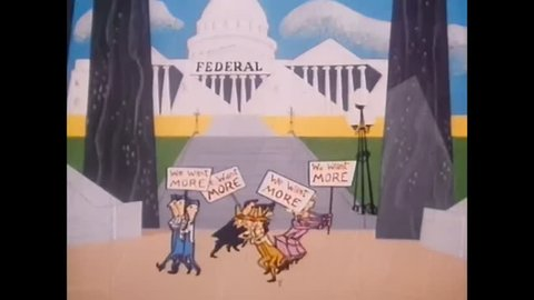 CIRCA 1954 - In this cartoon, tax burdens are shown to affect Americans of all professions and economic backgrounds.