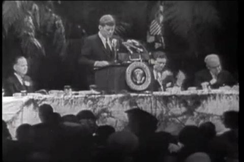 CIRCA 1961 John F Kennedy discusses the Cuban uprising before the American Society of Newspaper Members.