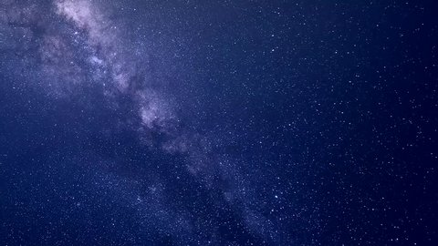 Milky way galaxy in starry clear blue night sky.  Perseid Meteor Shower, Universe galaxy milky way time lapse, nature blue, dark milky way. Timelapse stars and moon in mountain night sky, Ultra HD,4K