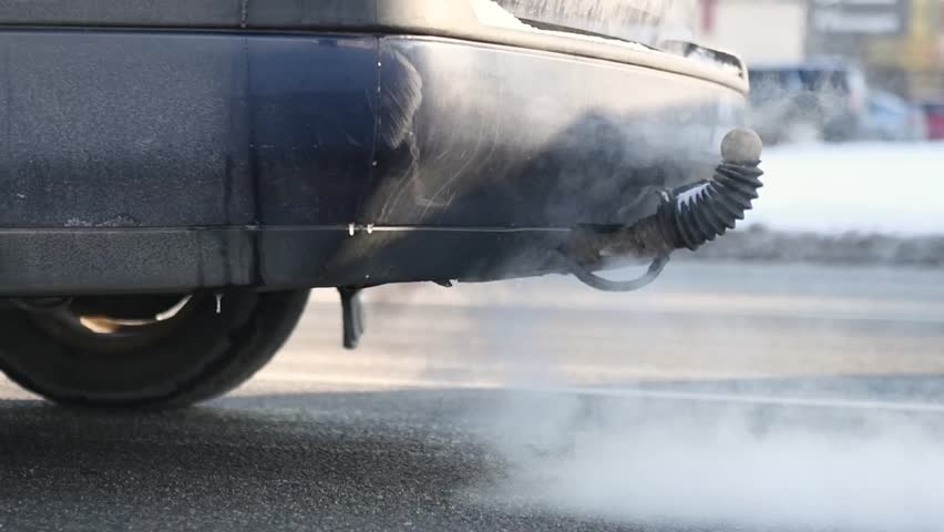 Automobile exhaust tube with gases. Enviroment pollution. slow motion