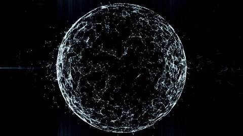 Sphere, globe and space in the form of a plexus. Abstract geometric background with moving lines, dots and triangles. Plexus fantasy abstract technology. Loop animations Financial or social abstract