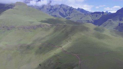 Breathtaking aerial of the Drakensberg mountain range, KZN, South Africa