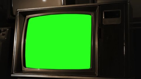 Vintage Green Screen TV in Sepia Color, Ready to replace green screen with any footage or picture you want. You can do it with Keying.