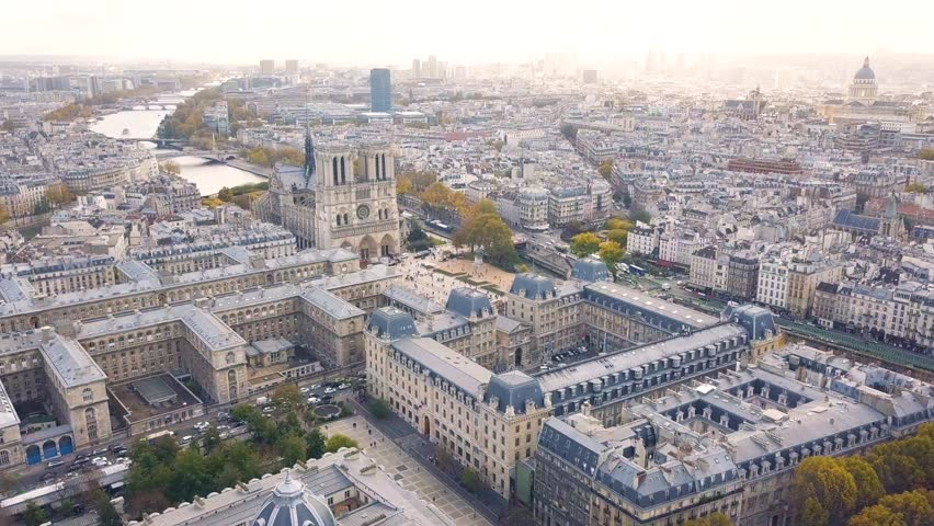 Cityscape of Paris. Aerial view of Notre Dame de Paris Cathedral | Shutterstock HD Video #1006814632