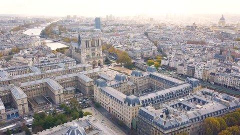 Cityscape of Paris. Aerial view of Notre Dame de Paris Cathedral