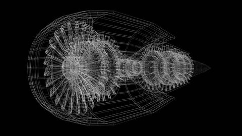 3D animation/ 3D rendering - plane engine (wireframe) - great for topics like aviation, engineering, technology etc.