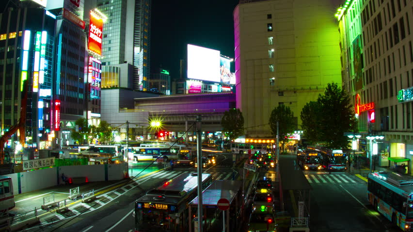 Shinjuku Tokyo Japan 11.08.2017 It's a City scape in Tokyo. 4K & time lapse camera : Canon EOS 7D