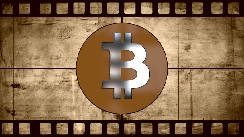 Animation of old negative film with Digital cryptocurrency Bitcoin sign as virtual money. Animation bitcoin. Compass crosshair. BTC Virtual Currency. Cryptocurrency Symbol Bitcoin
