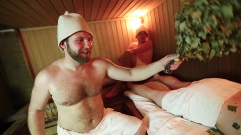 men's relaxing in the Russian bath