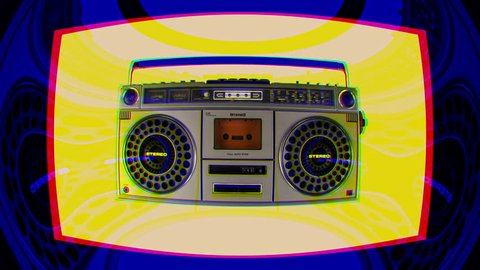 a vintage hifi ghettoblaster moving around erratically in space with intentional overlayed video distortion and glitch effects