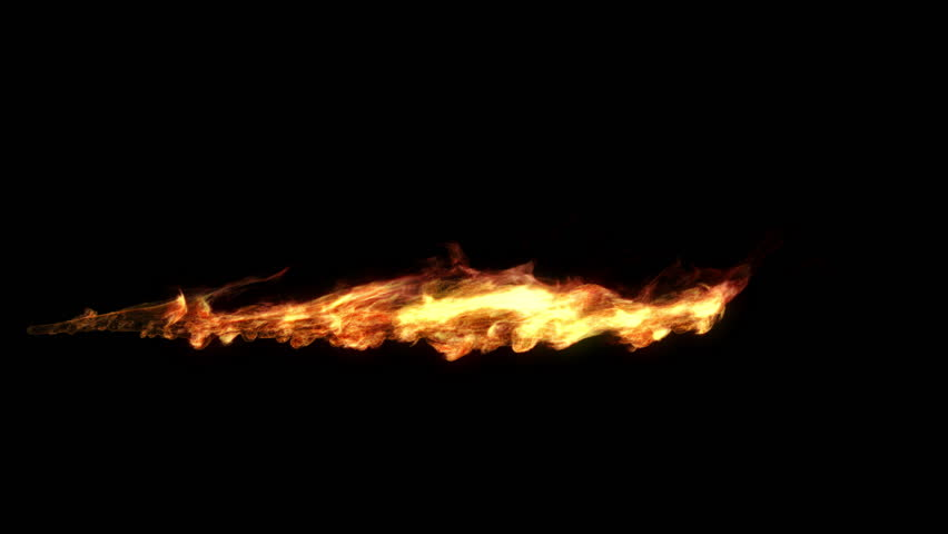 Realistic animation of a flame shooting out like a flamethrower. Including luma matte.