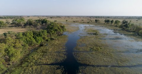 Aerial view flying over waterways in the Okavango Delta, Bostwana