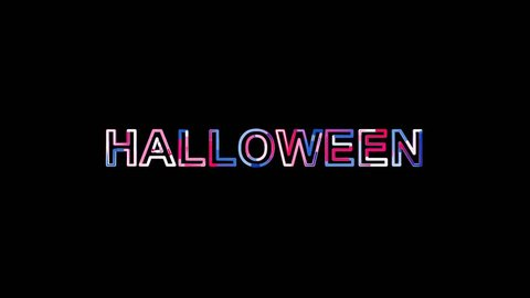 text HALLOWEEN from letters of different colors appears behind small squares. Then disappears. Alpha channel Premultiplied - Matted with color white