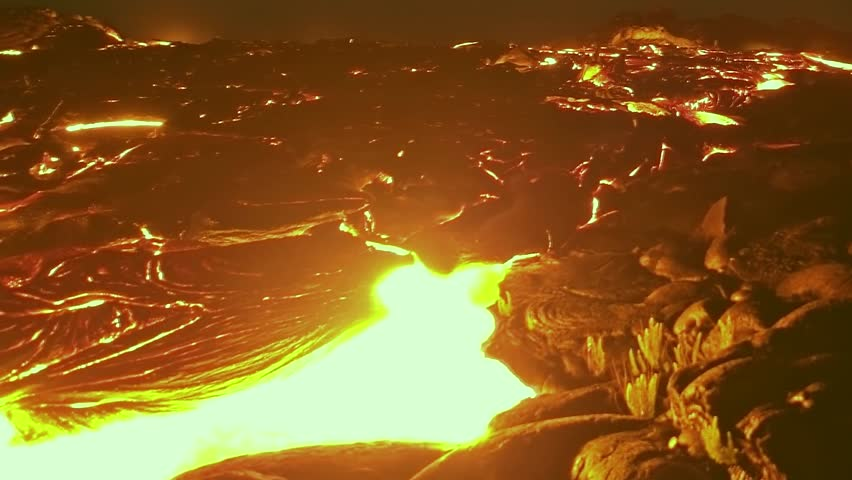 LAVA NATURE IN MOUNTAIN, NATURE ORANGE REJECTION, ASH. REAL TIME. Volcanic Eruption: Closeup of molten lava flow at the ocean entry, flow of lava reunion island eruption. ULTRA HD, 4K. #1007003632