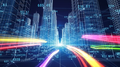 Beautiful Digital World. Abstract Digital City with Numbers and Grids. Flying Through the 3d Blueprint. Business and Technology Concept. 3d animation. 4k Ultra HD 3840x2160.