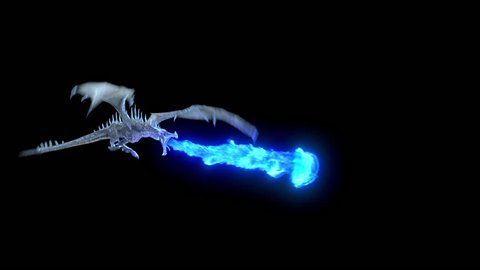Animated realistic Dragon flying and breathing blue flame. High Quality Seamless loop with alpha channel in 2K resolution, ProRes 4444 codec, 30 FPS.
