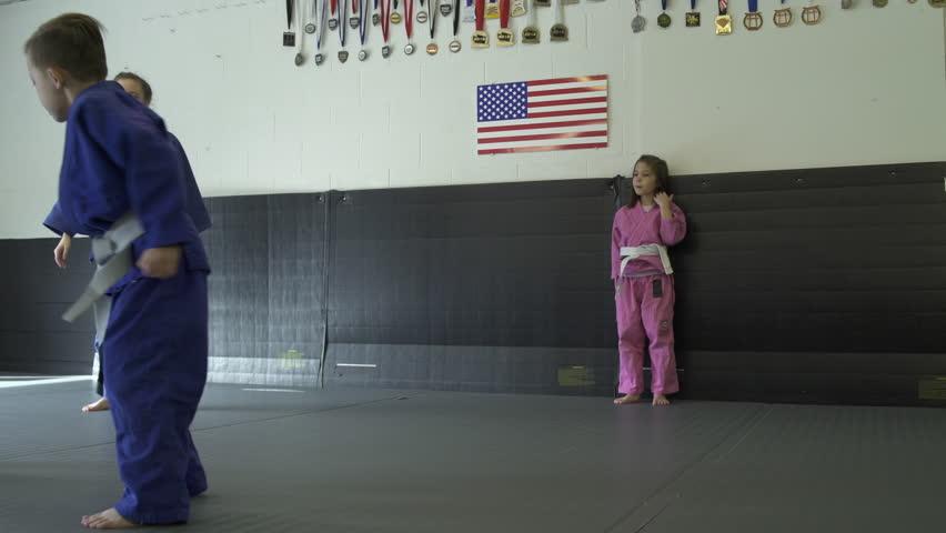 Children practicing Jiu-jitsu