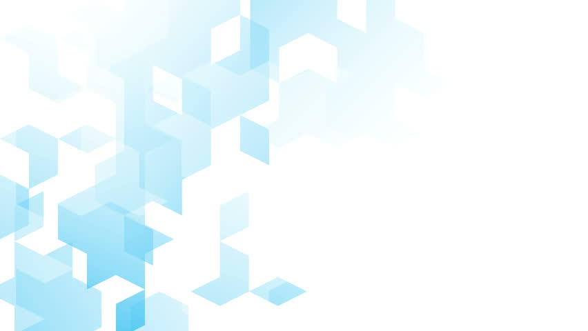 Abstract diamond square box pattern isometric design blue color animation 4K on white background  with copy space