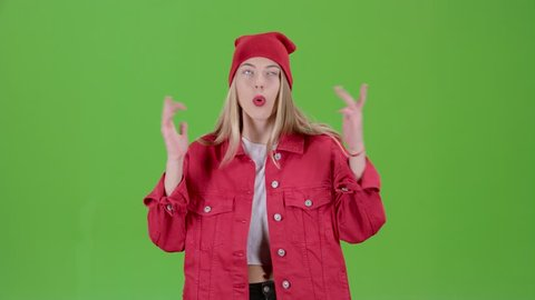 Teenager is the host of news on the children's channel. Green screen
