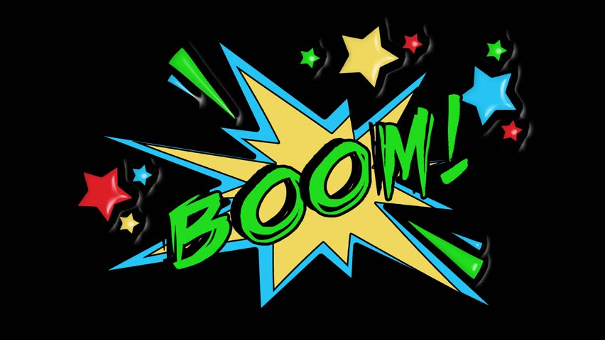 Comic strip speech bubble cartoon animation, with the message boom. Green text, yellow shape, alpha channel