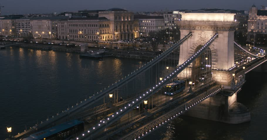 Aerial view of Budapest - Chain Bridge at Night | Shutterstock HD Video #1007108002