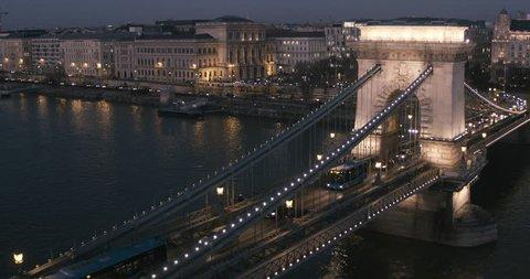 Aerial view of Budapest - Chain Bridge at Night