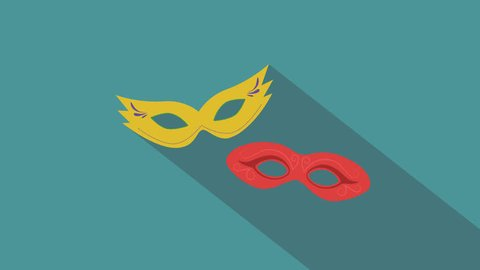 Carnival masks flat design animation icon. loop with alpha channel.