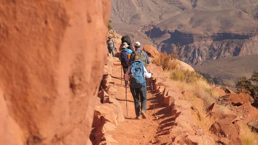 Family hiking down the South Kaibab Trail With Audio