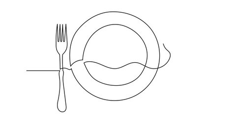 Simple animation of continuous line drawing. Clean plate, fork and spoon.  Drawing by hand, black lines on a white background.