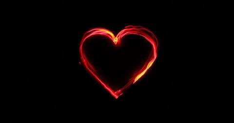 Heart  shape / Love / Valentines Day light painting animation