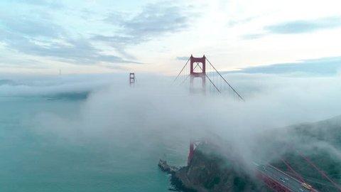 Golden Gate Bridge. Aerial of the Golden Gate Bridge in San Francisco in a misty day. Aerial California, USA, 4k