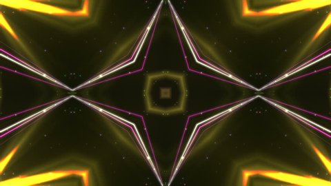 Abstract disco kaleidoscopes background with animated glowing neon colorful lines and geometric shapes