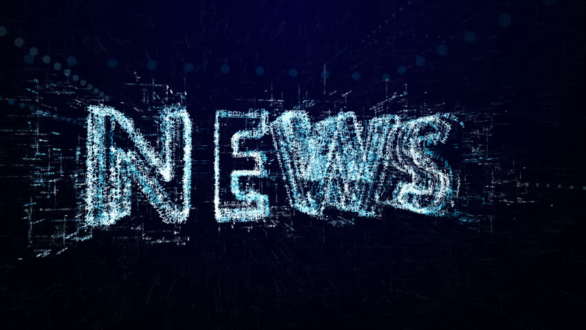 The word news. since the beginning of the transmission or the show. Tech header made up of small numbers and symbols | Shutterstock HD Video #1007209852