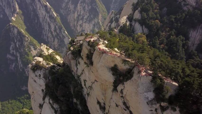 China Mt Huashan Aerial v10 Flying along mountain climbing path and ridges 5/17 | Shutterstock HD Video #1007243242