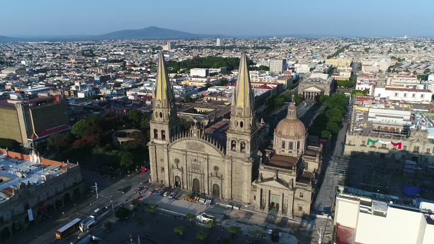 Catedral de Guadalajara Centro Día Drone Aerial Mexico