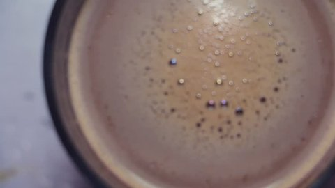 unfocused macro stir coffee/milkshake bubbles and foam texture