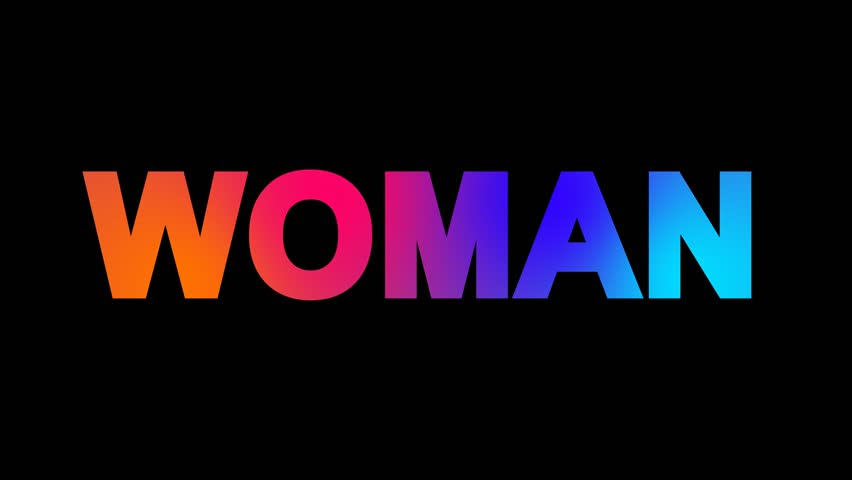 text WOMAN multi-colored appear then disappear under the lightning strikes changing color. Alpha channel Premultiplied - Matted with color black